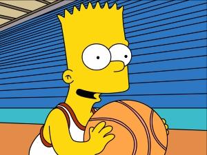 Simpsons play basketball